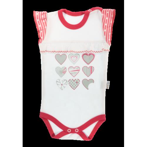 Detské body na ramienka Mamatti Love Girl -biela/červená, veľ. 98 - 98 (24-36m)