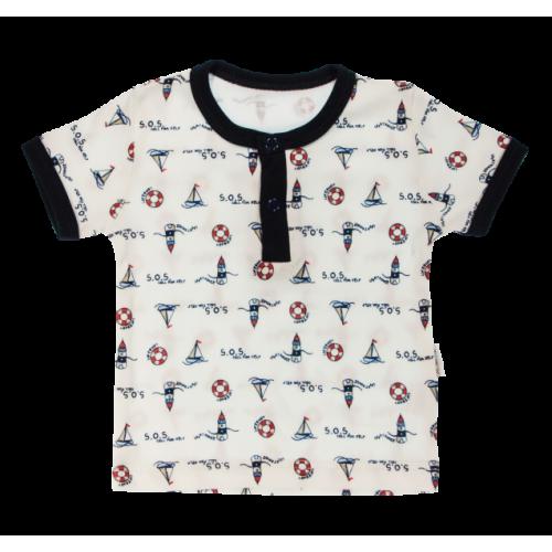 Bavlnené Polo tričko Mamatti Maják krátky rukáv - granátové, veľ. 74 - 74 (6-9m)