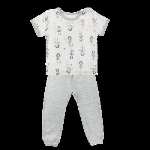 Bavlnené pyžamko Mamatti Baletka - krátký rukáv - smotanové/sivé - 80 (9-12m)