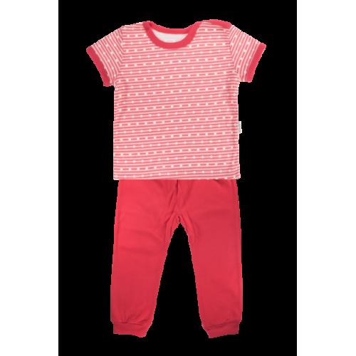 Bavlnené pyžamko Mamatti Love Girl - krátký rukáv - červené, veľ. 92 - 92 (18-24m)