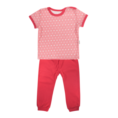 Bavlnené pyžamko Mamatti Love Girl - krátký rukáv - červené, veľ. 98 - 98 (24-36m)