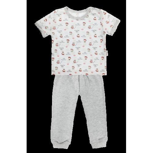Bavlnené pyžamko Mamatti Pirát - krátký rukáv - sivé - 80 (9-12m)
