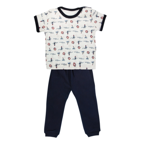Bavlnené pyžamko Mamatti Maják - krátký rukáv - granátové, veľ. 86 - 86 (12-18m)
