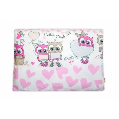 Baby Nellys Povlak na vankúšik Cute Owls, 40x60 cm - růžový