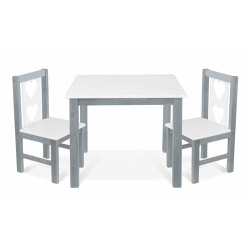 BABY NELLYS Detský nábytok - 3 ks, stôl s stoličkami - sivá, biela, B/05