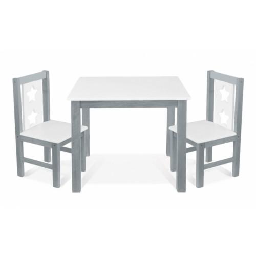 BABY NELLYS Detský nábytok - 3 ks, stôl s stoličkami - sivá, biela, C/05
