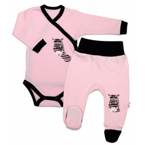 Baby Nellys 2-dielna sada body dl. rukáv + polodupačky, ružová - Zebra, veľ. 68 - 68 (4-6m)