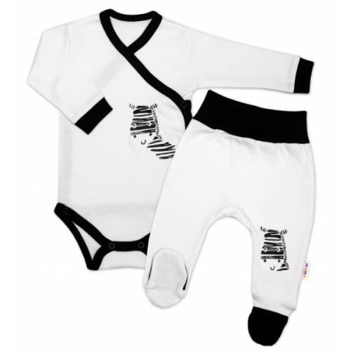 Baby Nellys 2-dielna sada body dl. rukáv + polodupačky, biela - Zebra - 50 (0-1m)