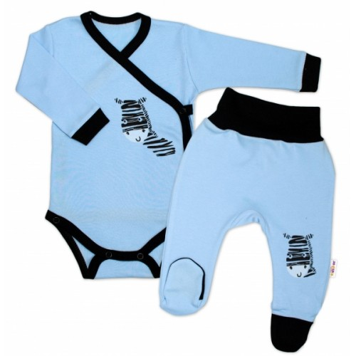 Baby Nellys 2-dielna sada body dl. rukáv + polodupačky, modrá - Zebra - 50 (0-1m)