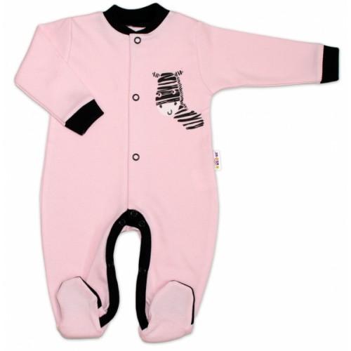 Baby Nellys Bavlnený overal Zebra - ružový, veľ. 68 - 68 (4-6m)
