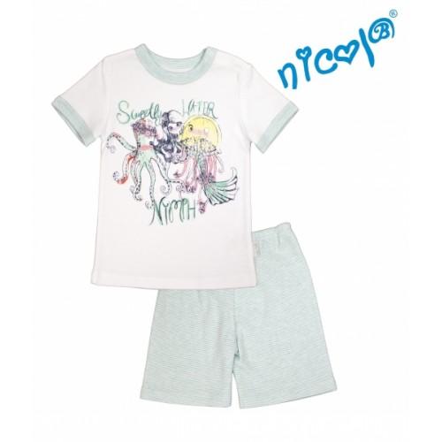 Detské pyžamo Nicol kr. rukáv/kraťasky, Morská víla - bielo/mátové, veľ. 110 - 110