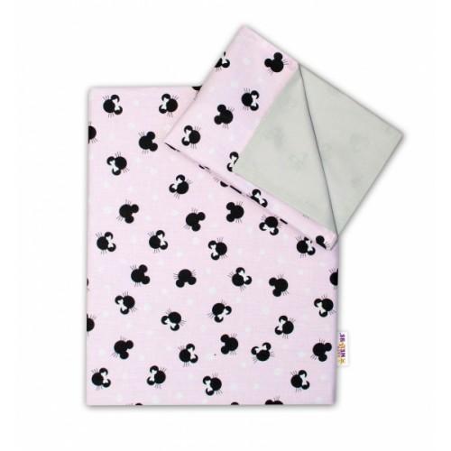 2-dielne bavlnené obliečky Baby Nellys - Minnie ružové/šedé, 135 x 100 - 135x100