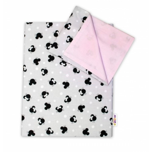 2-dielne bavlnené obliečky Baby Nellys -Minnie sivé/ružové, 135 x 100 - 135x100