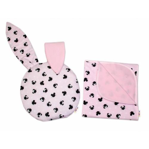 2-dielna súprava do kočíka Baby Nellys jersey s uškami, Minnie - ružová