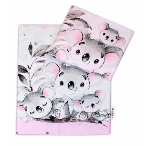 2-dielne bavlnené obliečky Baby Nellys - Medvedík Koala -  ružový, roz. 135 x 100 cm - 135x100