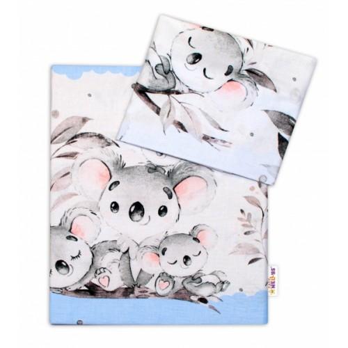 2-dielne bavlnené obliečky Baby Nellys - Medvedík Koala - modrý - 120x90