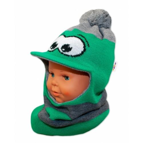 BABY NELLYS Zimná čiapočka/kukla so šiltom a bambuľu - zelená s očami
