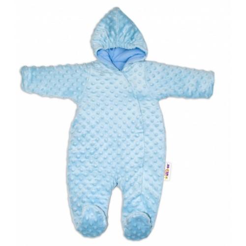 Baby Nellys Kombinézka / overal Minky, zateplená - sv. modrá - 56 (1-2m)