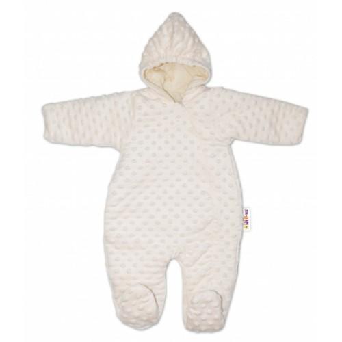 Baby Nellys Kombinézka / overal Minky, zateplená - smotanová - 56 (1-2m)