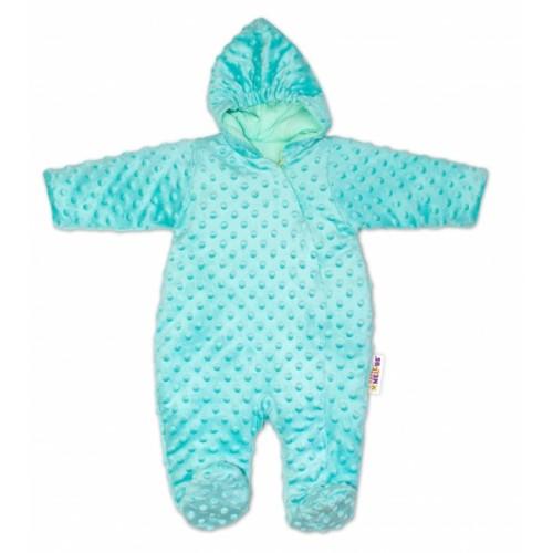 Baby Nellys Kombinézka / overal Minky, zateplená - mätová - 56 (1-2m)