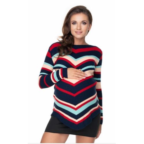 Be Maamaa Dlhši tehotenský sveter granát - šikmý vzor - UNI