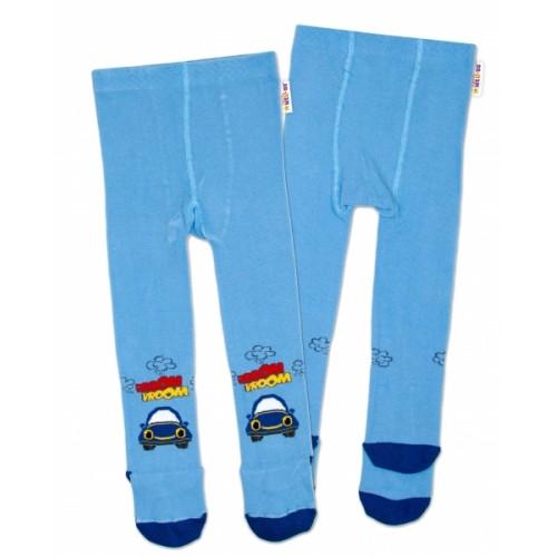 Baby Nellys Bavlnené pančucháče Autíčko - modré, veľ. 80/86 - 80-86 (12-18m)