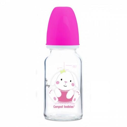 Sklenená fľaštička 120ml Canpol babies Sweet fun - ružová