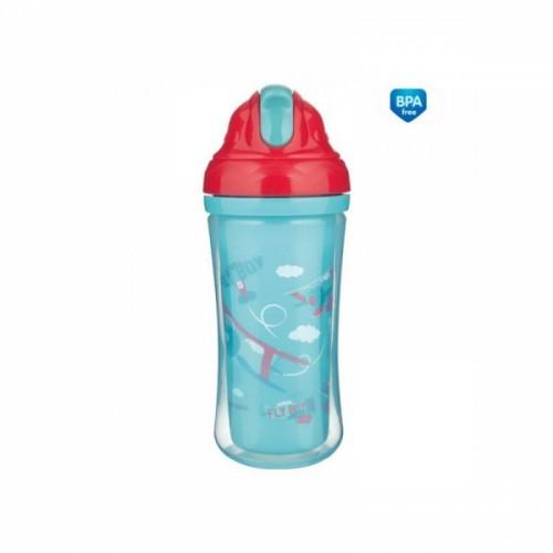 Canpol babies Športová fľaša sa slamkou Fly Boy - tyrkysová, 260 ml
