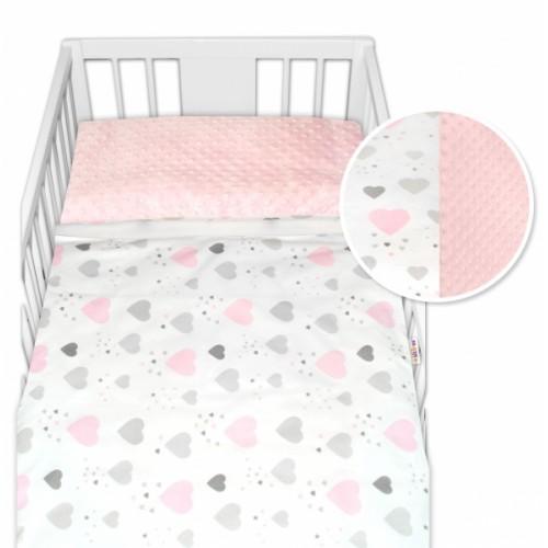 2-dielne bavlnené obliečky s Minky Baby Nellys - srdiečka, ružová /ružová, veľ. 135x100cm - 135x100