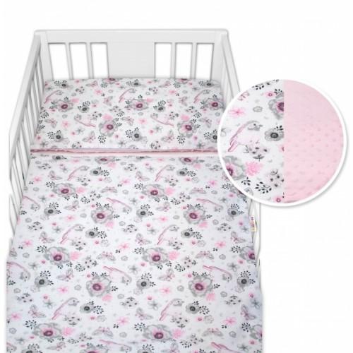 2-dielne bavlnené obliečky s Minky Baby Nellys - vtáčiky, ružová /ružová - 120x90