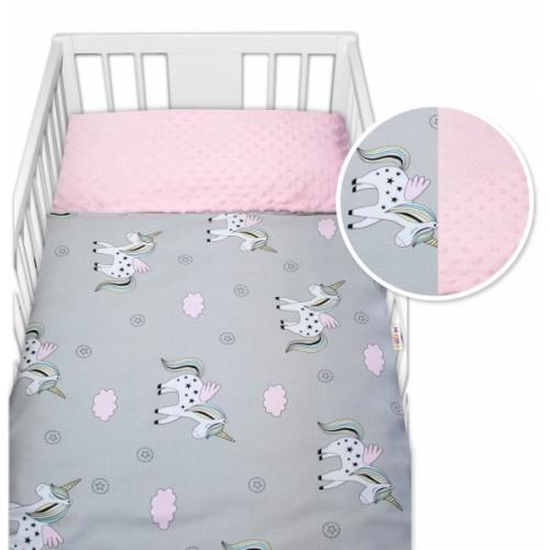 2-dielne bavlnené obliečky s Minky Baby Nellys - jednorožec, ružová /šedá - 120x90