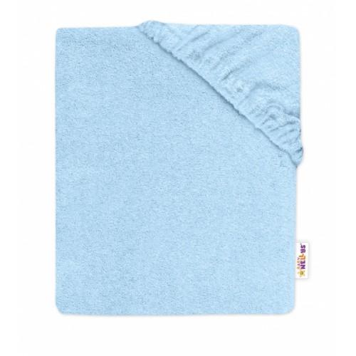 Baby Nellys Detská froté plachta do postieľky - sv. modré  - 120x60