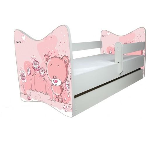 BabyBoo Dětská postieľka Medvedik STYDLÍN růžový - 120x60cm, D19 + ŠUPLÍK - 140x70