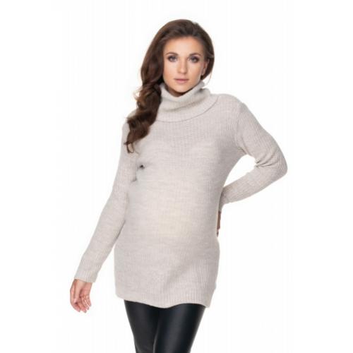 Be MaaMaa Dlhý tehotenský sveter - béžový - UNI