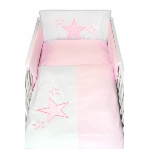 Baby Nellys Mantinel s obliečkami Baby Stars  - ružový, veľ. 135x100cm - 135x100