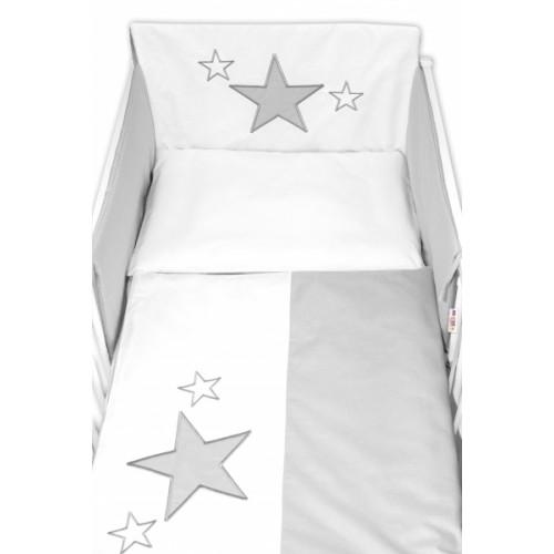 Baby Nellys Mantinel s obliečkami Baby Stars - sivý, veľ. 135x100 cm - 135x100