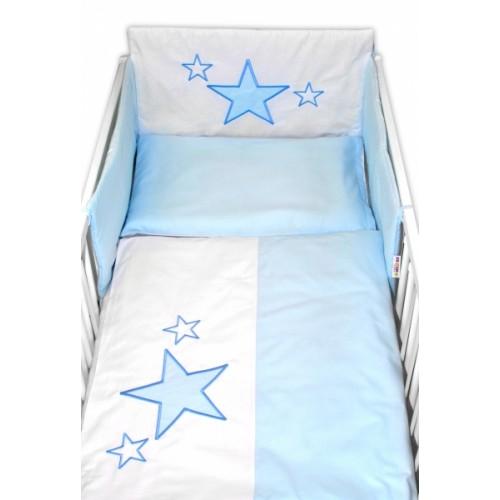 Baby Nellys Mantinel s obliečkami Baby Stars - modrý, veľ. 135x100 cm - 135x100