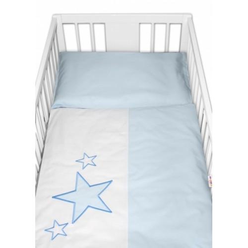 Baby Nellys Obliečky do postieľky Baby Stars  - modré, veľ. 135x100 cm - 135x100