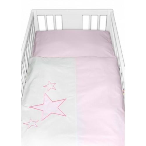 Baby Nellys Obliečky do postieľky Baby Stars  - ružové, veľ. 135x100 cm - 135x100