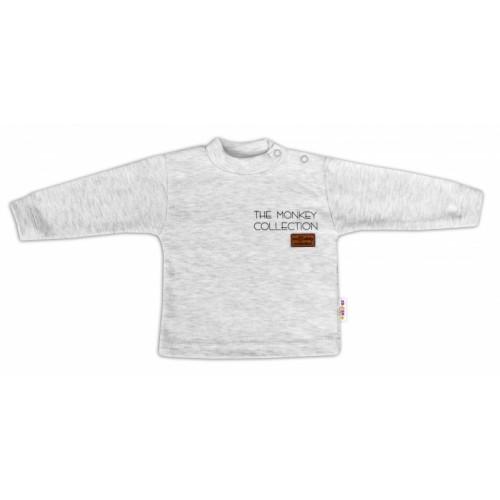 Baby Nellys Bavlnené tričko dlhý rukáv Monkey - sv. sivý melírek - 68 (4-6m)