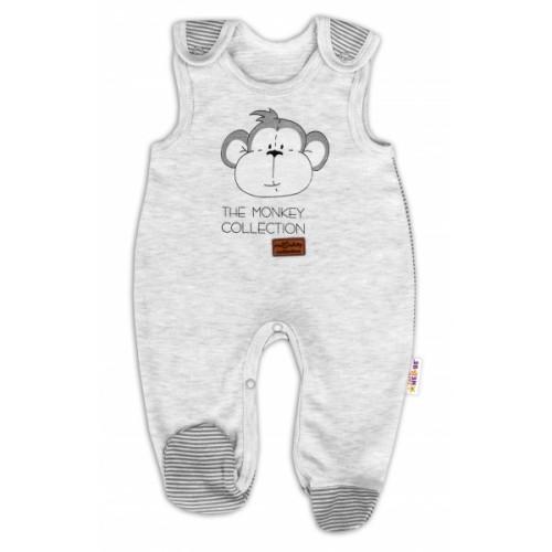 Dojčenské bavlnené dupačky Baby Nellys Monkey - sv. sivý melírek, veľ. 68 - 68 (4-6m)