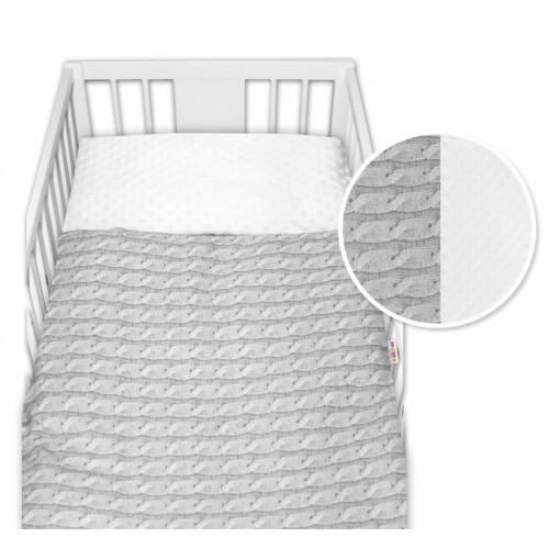 2-dielne bavlnené obliečky  minky Baby Nellys, Pletený vrkoč - sivý - 120x90