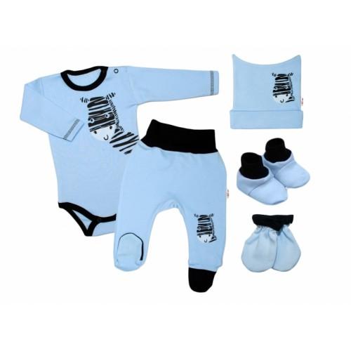 Baby Nellys Súpravička do pôrodnice Zebra - modrá, veľ. 62 - 62 (2-3m)