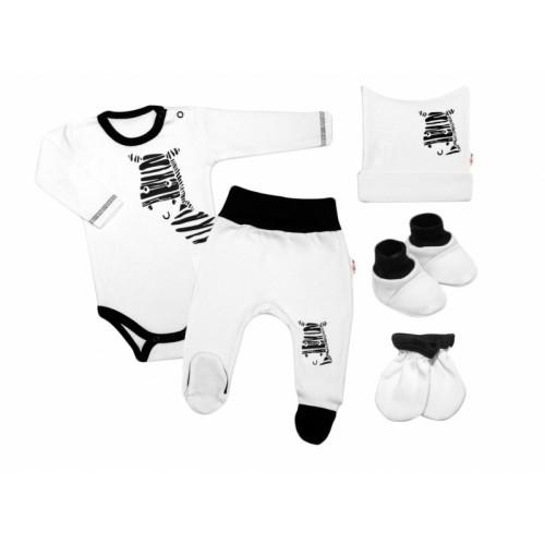 Baby Nellys Súpravička do pôrodnice Zebra - biela, vel. 62 - 62 (2-3m)