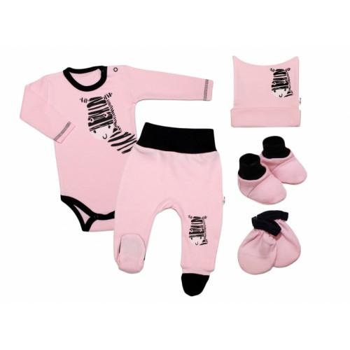 Baby Nellys Súpravička do pôrodnice Zebra - ružová, vel. 56 - 56 (1-2m)