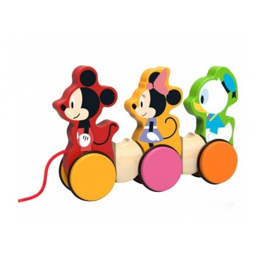 Drevená hračka Disney tahacia, Mickey, Minnie a Kačer Donald