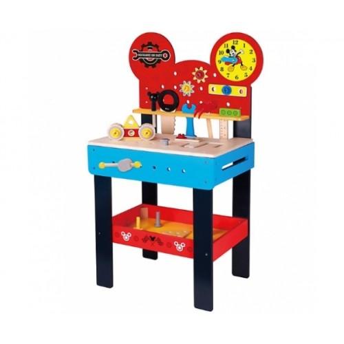 MIckeyho veľký drevený stôl s náradím Disney, 45 x 30 x 80 cm