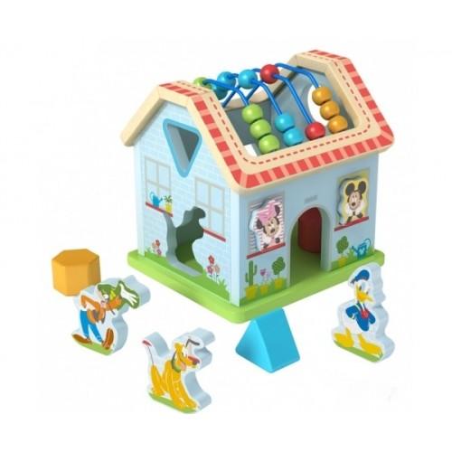 Drevený interaktívny Disney domček, Mickeyho svet, 21x19,5x21,5 cm