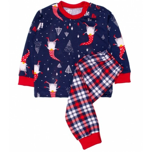 Baby Bavlnené pyžamo Vianočný škriatok - tm. modré / červená - 80 (9-12m)