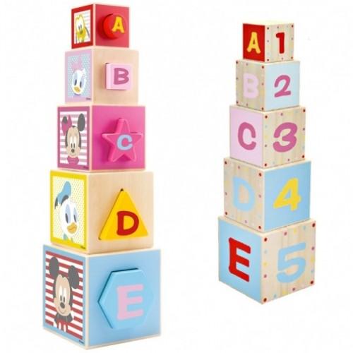 Drevená edukačná veža z kociek Disney Mickey, 12 x 46 x 12 cm